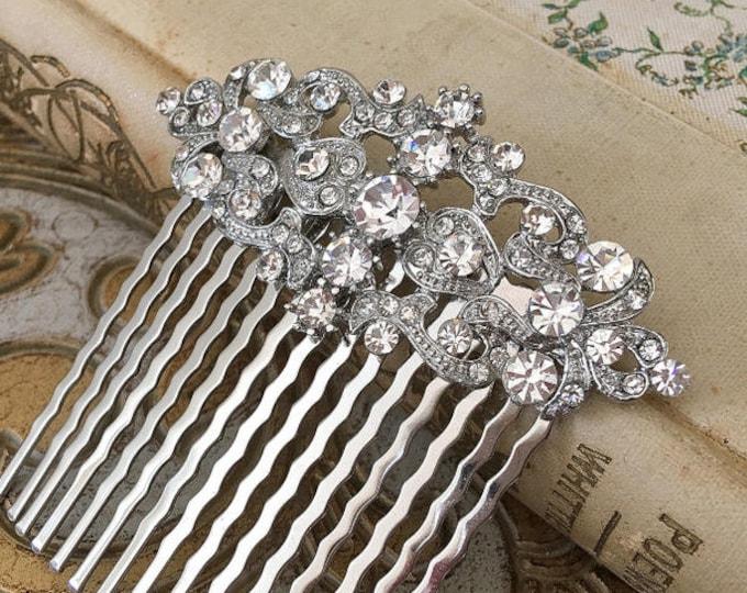 Vintage Style Crystal & Platinum Hair Comb
