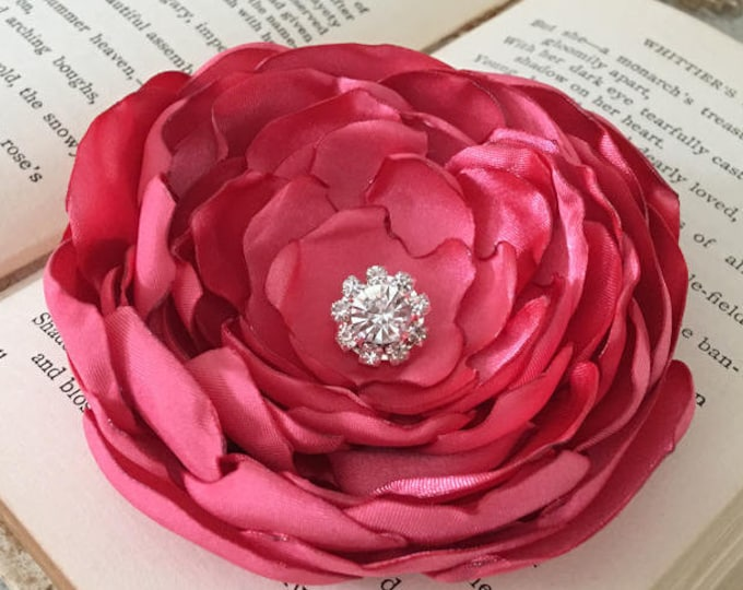 Coral Satin Flower Hair Clip or Brooch Pin.Choose your flower size and button/bead finish. Handmade.
