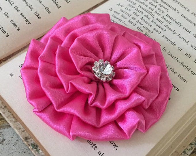 Hot Pink Satin Flower Hair Clip and/or Brooch Pin. Choose your button/bead finish. Handmade.
