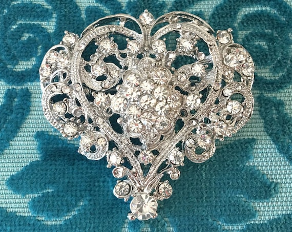 Rhinestone & Platinum Heart Brooch Pin