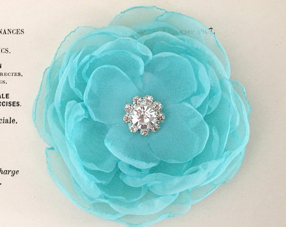 Aqua Fabric Flower Brooch Pin, Hair Clip, Hair Pin, or Hair Comb. Choose Size and Button Finish. Handmade.