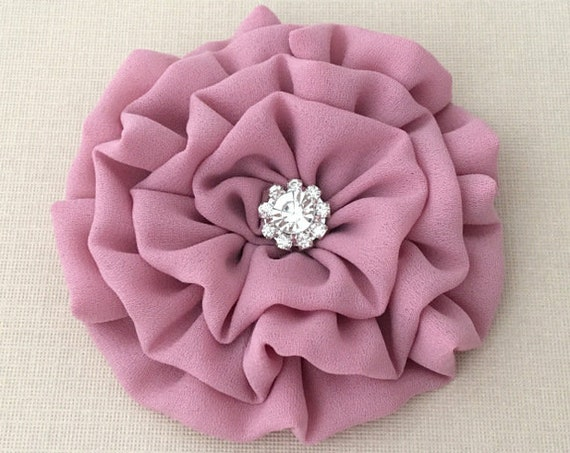 Mauve Flower Brooch Pin and/or Hair Clip. Choose your button/bead finish. Handmade.