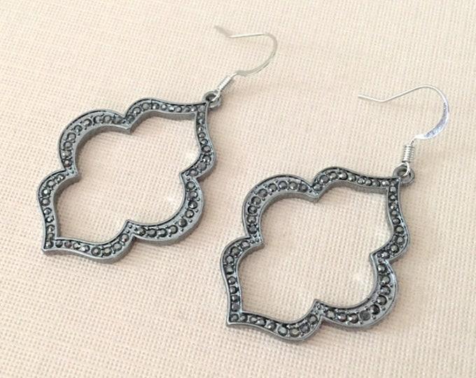 Gray Marcasite Style Earrings