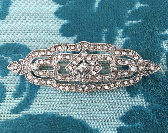 Rhinestone Art Deco Style Brooch Pin