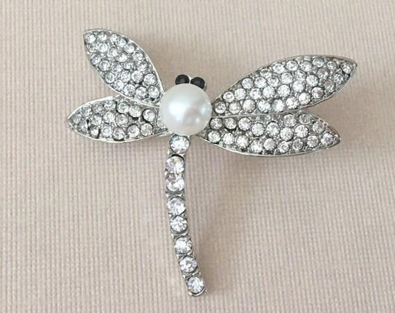 Rhinestone & Pearl Dragonfly Brooch Pin