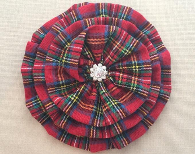 Red Tartan Plaid Flower Brooch Pin and or Hair Clip. Choose button finish. Rhinestone, pearl, etc...
