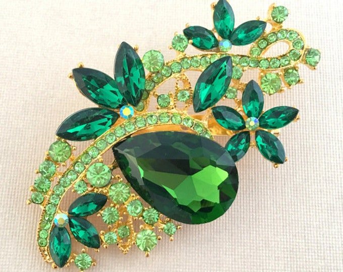 Green & Gold Rhinestone Brooch Pin