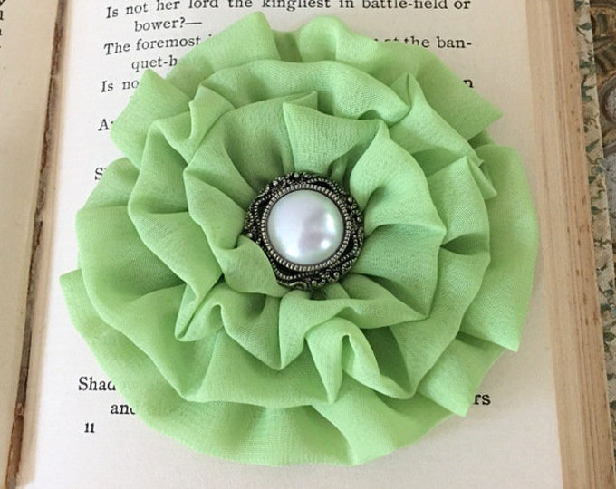 Lime Green Fabric Flower Hair Clip or Brooch Pin. Choose button/bead finish. Handmade.