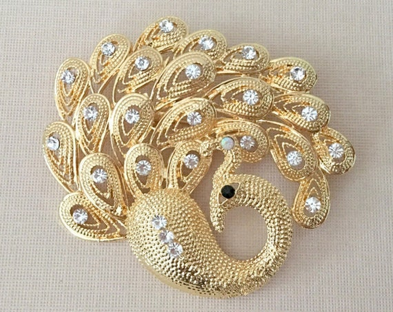 Gold & Rhinestone Peacock Brooch Pin