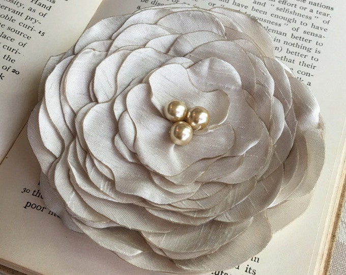 Beige Fabric Flower Brooch Pin or Hair Clip. Choose your size and button/bead finish. Handmade.