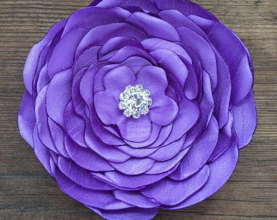 Violet Silk Flower Brooch Pin or Hair Clip. Choose your size and button/bead finish. Handmade.