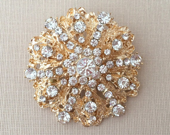 Rhinestone & Gold Round Brooch Pin