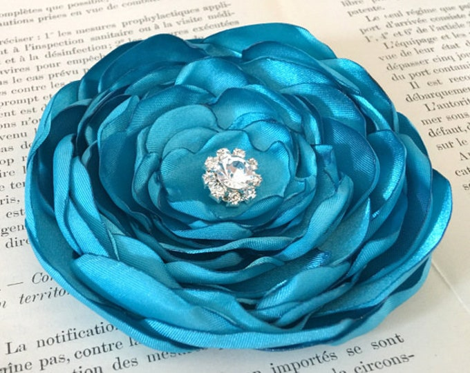 Turquoise Fabric Flower Brooch Pin or Hair Clip. Choose your size and button/bead finish. Handmade.