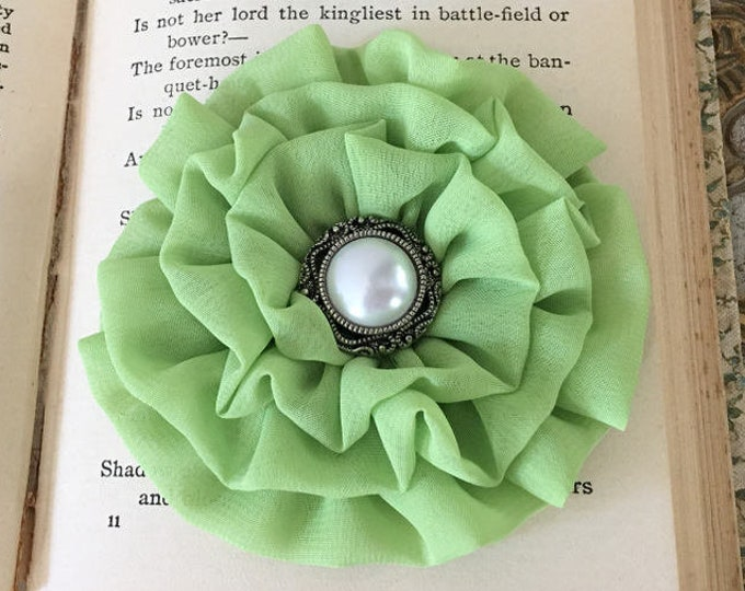 Lime Green Fabric Flower Hair Clip and/or Brooch Pin. Choose button/bead finish. Handmade.