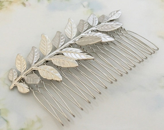 Silver Leaf Color Hair Comb