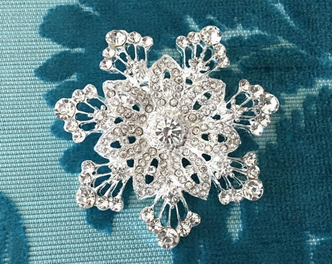 Silver & Rhinestone Snowflake Brooch Pin