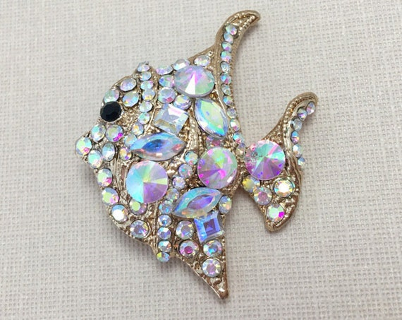 Gold & Rhinestone Fish Brooch Pin