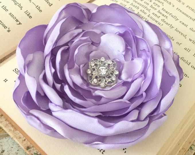 Lavender Satin Flower Brooch Pin or Hair Clip. Choose size and button finish.