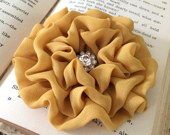 Mustard Yellow Chiffon Flower Hair Clip and/or Brooch Pin. Choose your size and button/bead finish. Handmade.