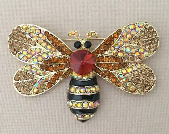 Large Bee Brooch.Bee Brooch.Large Bee Pin.Large Bee Broach.Rhinestone Bee Brooch.Crystal Bee Brooch.Bee Pin.Bee Broach.Brown.Topaz.Champagne