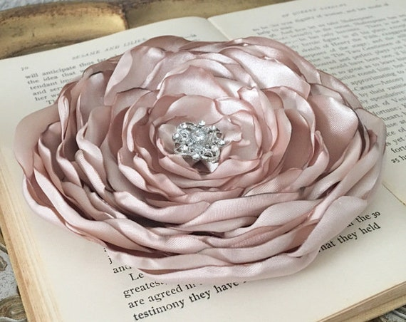 Champagne Satin Flower Hair Clip or Brooch Pin. Choose your size and button/bead finish. Handmade.