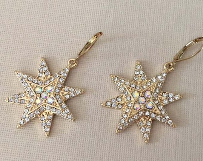 Gold & Rhinestone Starburst Earrings