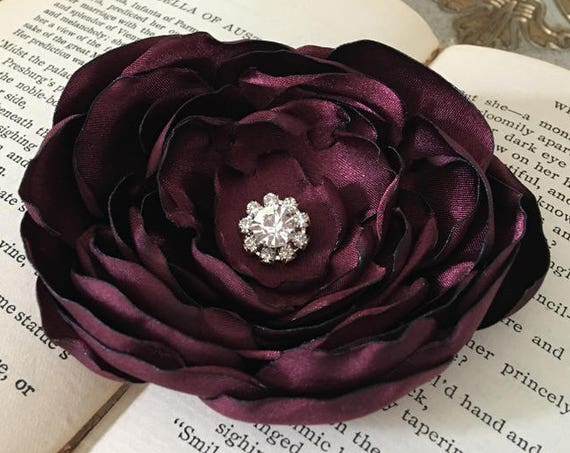 Maroon Flower Brooch Pin or Hair Clip. Choose your size and button/bead finish.