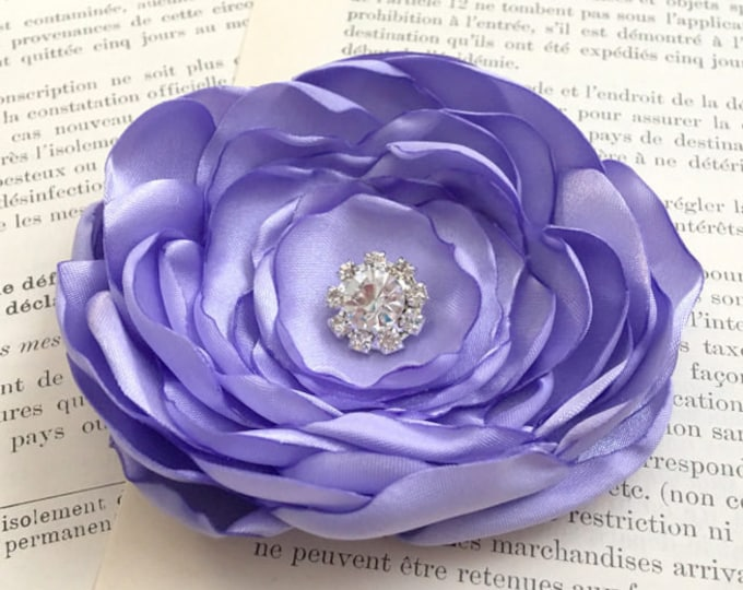 Dark Lavender Fabric Flower Brooch Pin or Hair Clip. Choose your size and button/bead finish. Handmade.