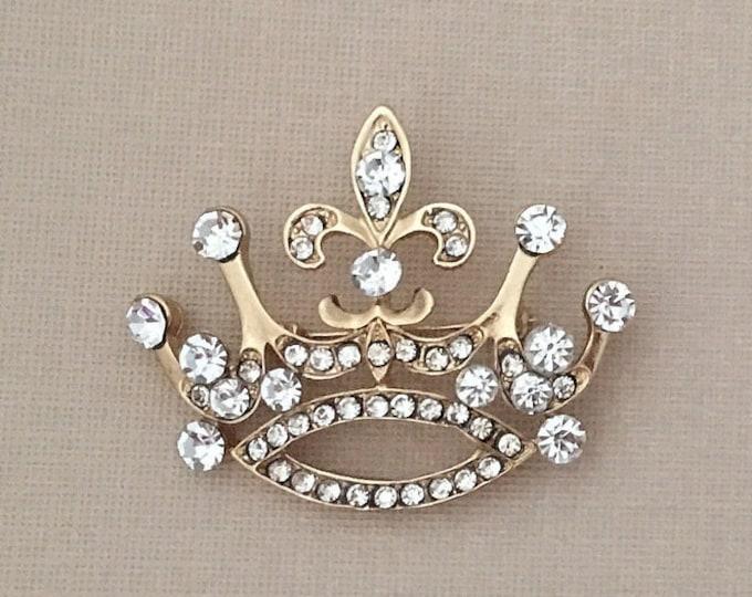 Gold Fleur de Lis Crown Brooch Pin