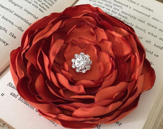 Burnt Orange Satin Flower Hair Clip or Brooch Pin. Choose your size and button/bead finish. Handmade.