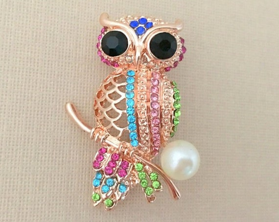 Colorful Rhinestone Owl Brooch Pin