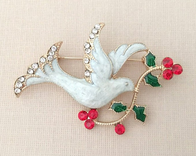 White Christmas Dove Brooch Pin
