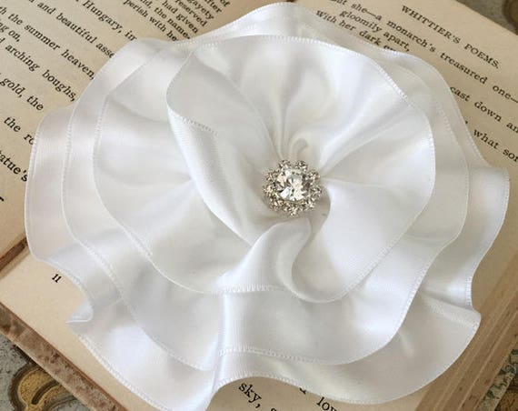 Large Ivory Satin Flower Brooch Pin and/or Hair Clip. Choose your button/bead finish. Handmade.