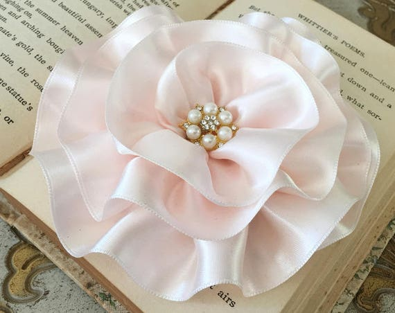 Large Blush Pink Flower Brooch Pin or Hair Clip. Choose your button/bead finish. Handmade