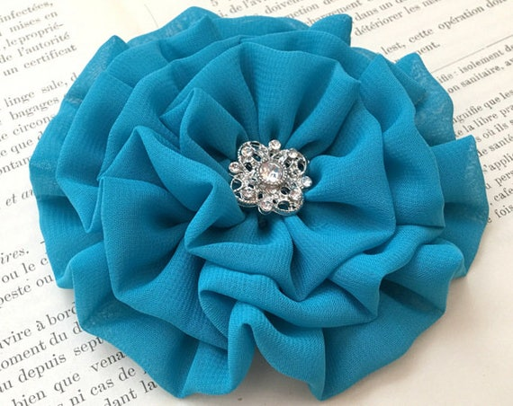 Light Teal Fabric Flower Brooch Pin and/or Hair Clip. Choose your button/bead finish. Handmade.