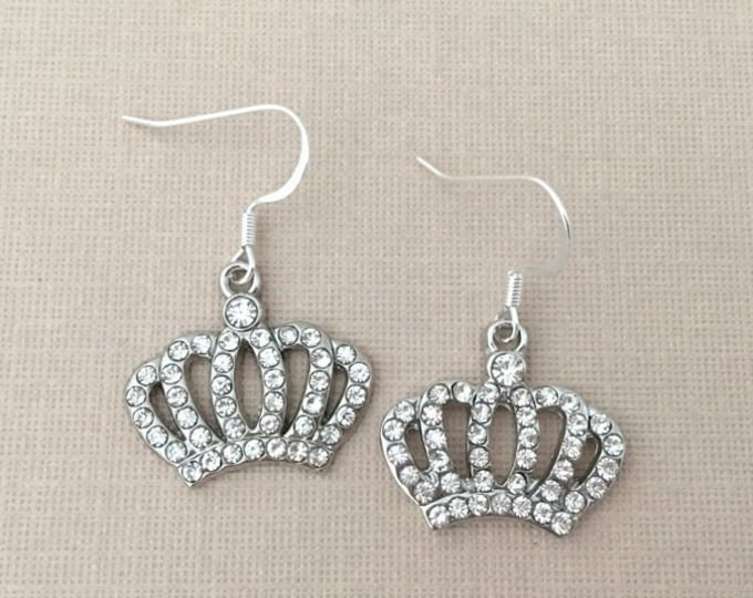 Rhinestone Crown Earrings