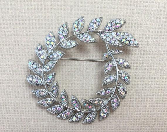 Aurora Borealis Brooch.Aurora Borealis Pin.Laurel Leaf Brooch.Silver AB Brooch.AB Broach.Iridescent Brooch Pin.Wedding.Bridal Pin.platinum