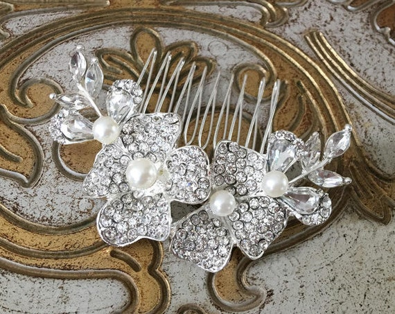 Pearl and Rhinestone Flower Hair Comb. Almost gone...