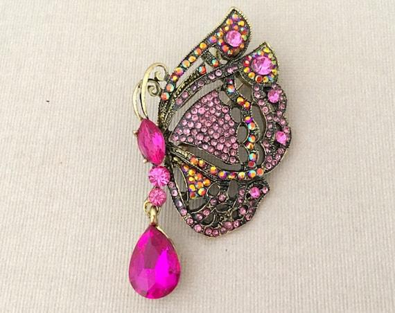 Pink Rhinestone Butterfly Brooch Pin & Pendant