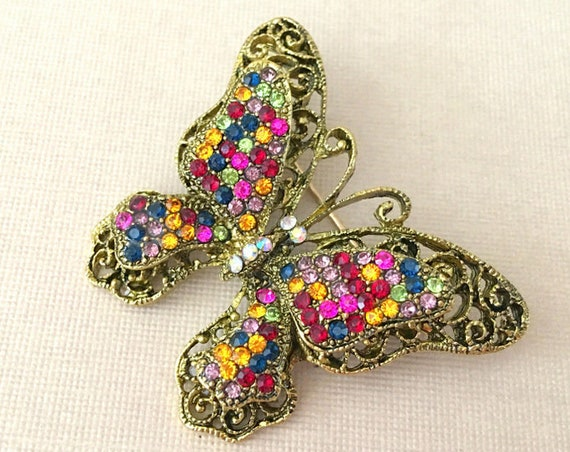 Multi-color Butterfly Rhinestone Brooch Pin.  Vintage Style.