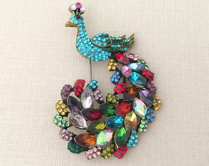Colorful Peacock Brooch Pin