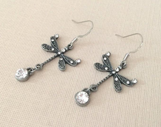 Dragonfly Rhinestone Earrings