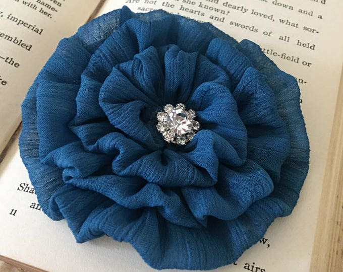 Teal Blue Flower Brooch Pin and/or Hair Clip. Choose your button/bead finish. Handmade.