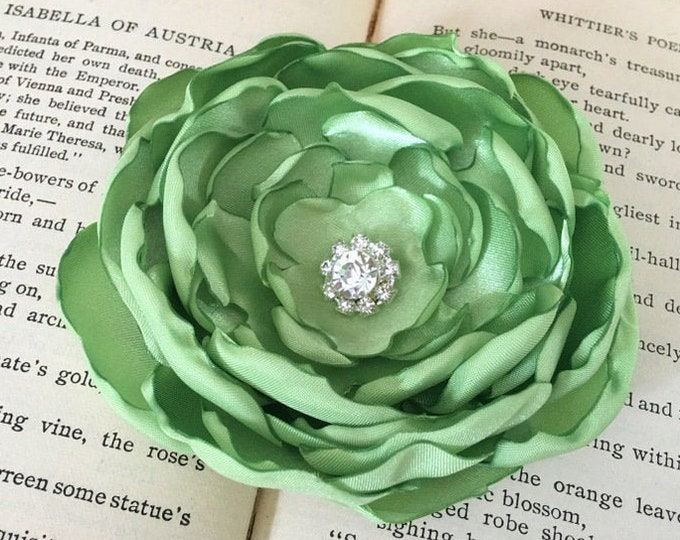 Lime Green Fabric Flower Hair Clip or Brooch Pin. Choose your size and button/bead finish. Handmade.