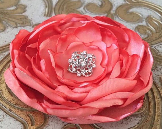 Peach Satin Flower Brooch Pin or Hair Clip. Choose size and button/bead finish.