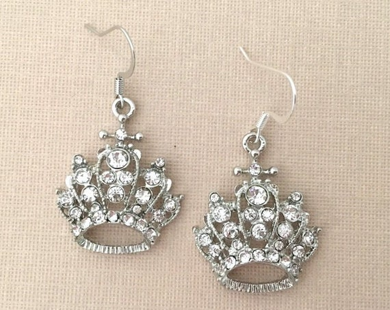 Silver Crown Dangle Earrings