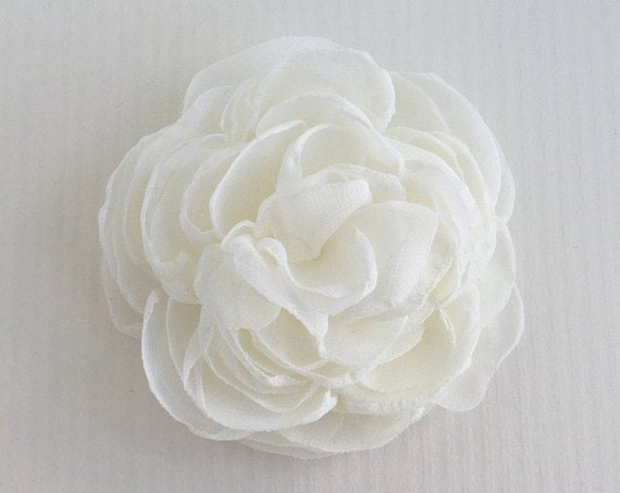 Ivory Fabric Flower Hair Clip, Brooch/Pin, Hair Comb, or Hair Pin
