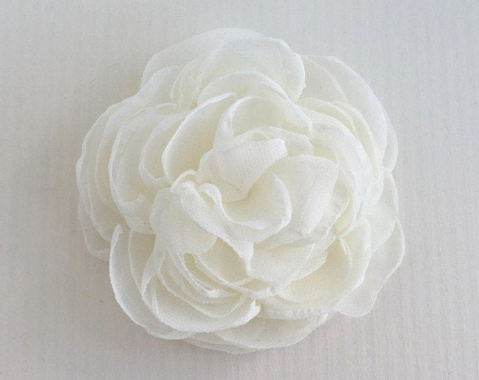 Ivory Fabric Flower Hair Clip, Brooch/Pin, Hair Comb, or Hair Pin