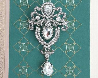 Large Rhinestone Brooch.Victorian Style Brooch.Vintage Style Crystal Brooch.Bridal Brooch.Rhinestone Pin.Dangle.Teardrop.Wedding Accessory