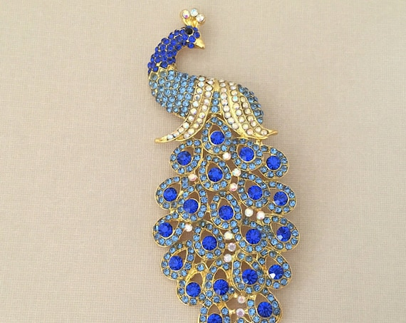 Blue & Gold Peacock Rhinestone Brooch Pin